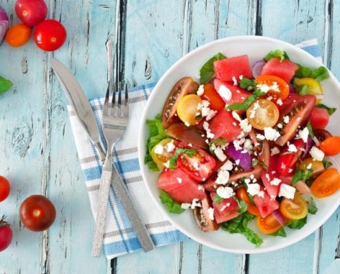 sommerlicher Melonensalat mit Feta